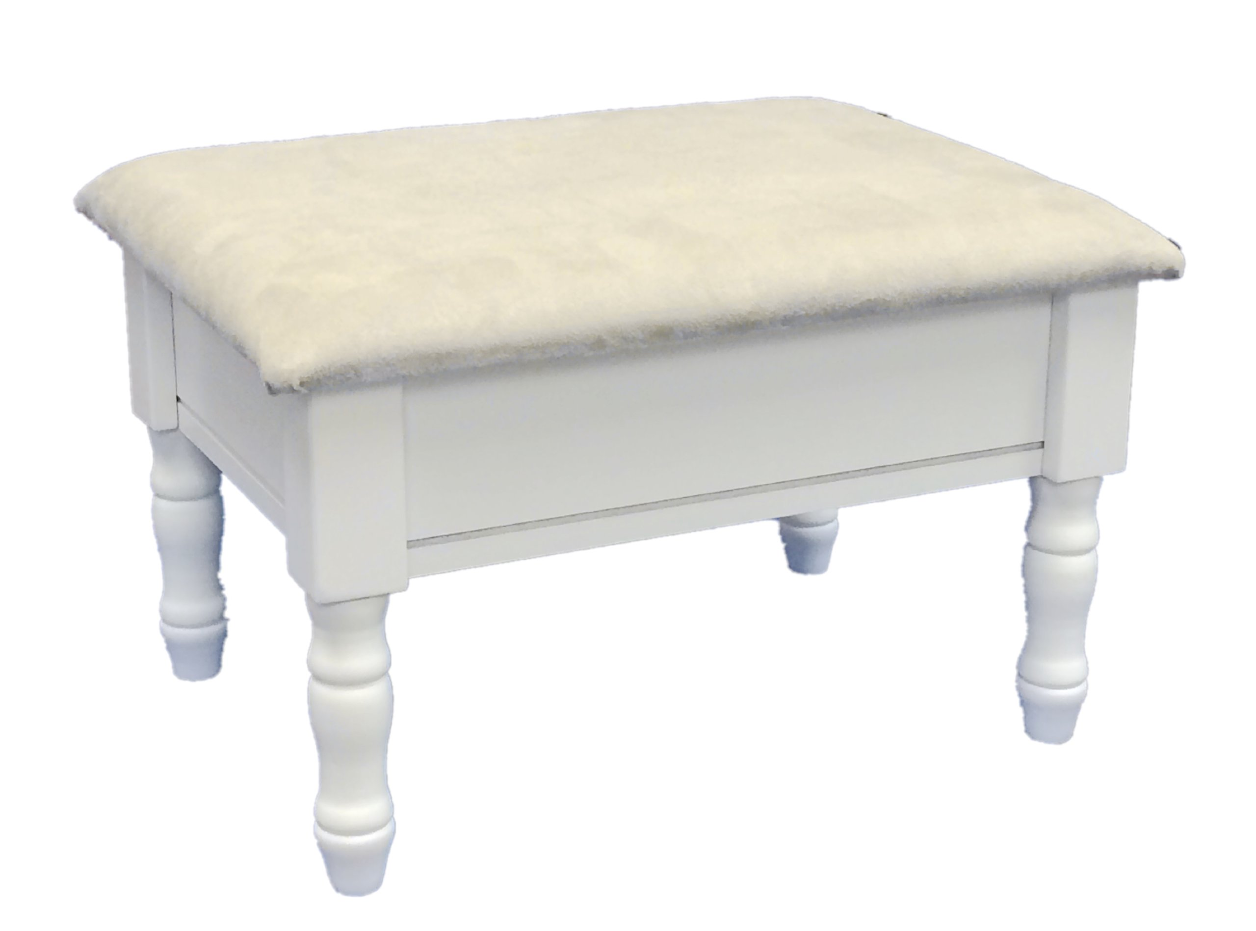 Frenchi Home Furnishing Footstool with Storage, White finish with dark beige cover