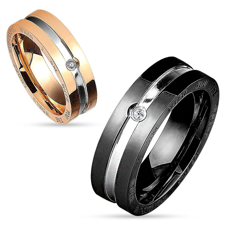 Partnerringe zweifarbig  Bungsa® Couple Ringe Paarringe zweifarbig für Damen & Herren ...