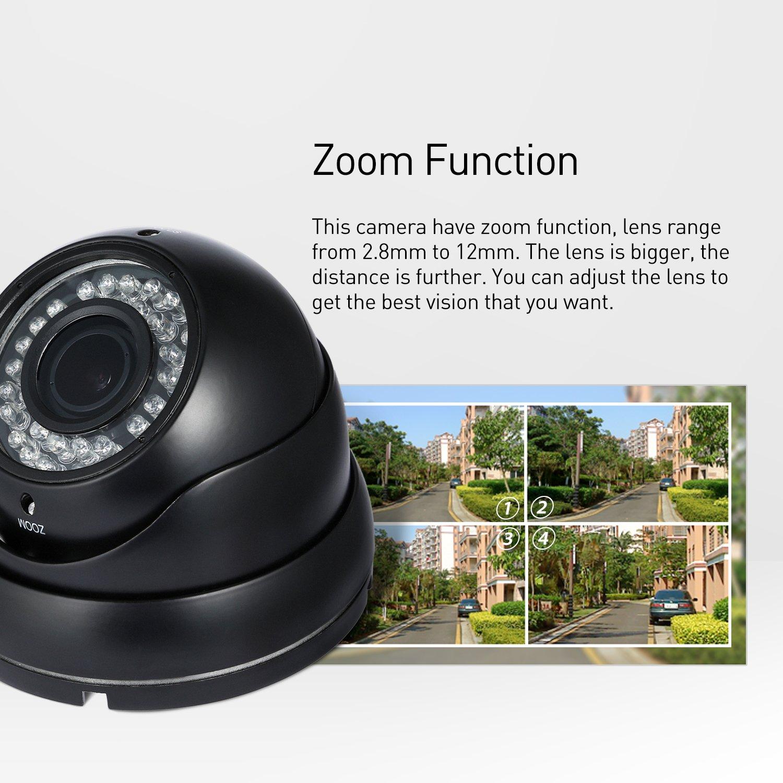 Negro POE HD 1920 x 1080P 2.0MP 2.8-12mm Zoom Para IP C/ámara 36 LED Resistente al Agua Exteriores C/ámara con Seguridad a toda Prueba ONVIF de Visi/ón Nocturna P2P CCTV C/ámara con IR-Cut Revotech/®
