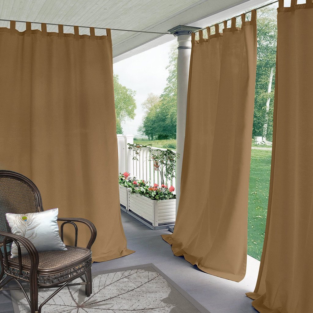 Blackout Outdoor Curtain Tab Top Wheat 150'' W x 96'' L For Front Porch, Pergola, Cabana, Covered Patio, Gazebo, Dock, and Beach Home (1 Panel).