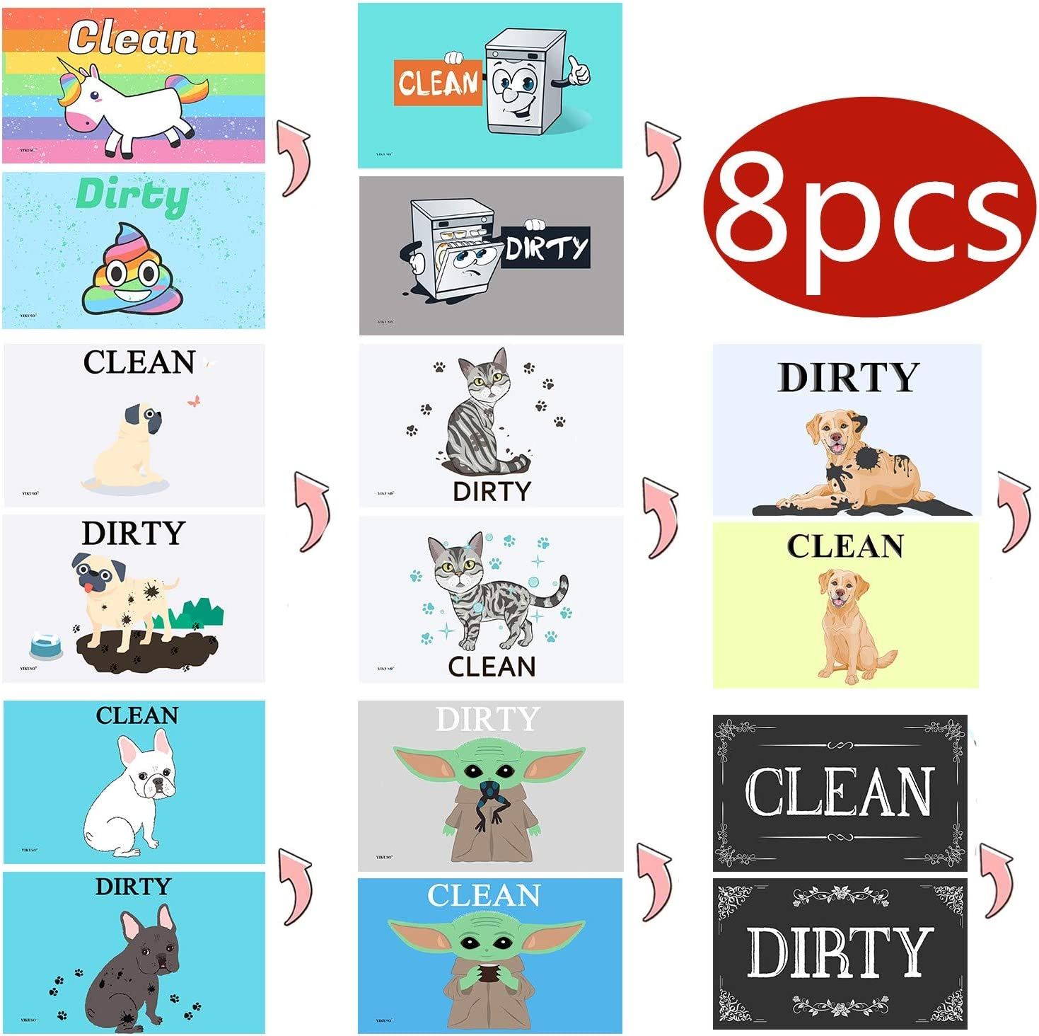 8 pack Dishwasher Magnet Clean Dirty Sign - Strongest Magnet Double Sided Flip - With Bonus Metal Magnetic Plate - Universal Kitchen Dish Washer Reversible Indicator (8pcs-3)