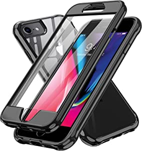 LeYi Compatible with iPhone 8 Case, iPhone SE 2020 Case, iPhone 7 Case with Built-in Screen Protector, 360 Full-Body Protective Dual Layer Shockproof Slim Clear Phone Cover Case for iPhone 6s/6, Black