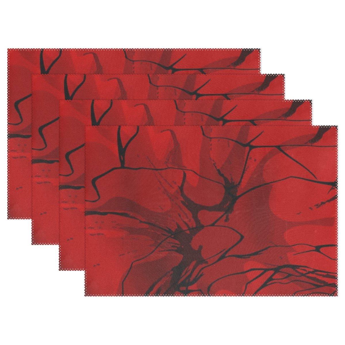 enevotxレッド抽象レッドテクスチャPlacemats Set of 4熱断熱材Stain Resistant forダイニングテーブル耐久性ノンスリップキッチンテーブルPlaceマット   B07FNJPJW2