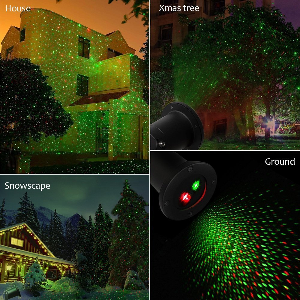 Solario Solar Powered Laser Light Projector w/All-Metal Aluminum Design | Extra-Bright LED Stake Lights | 100% Weather Resistant Outdoor Christmas Lights (Red & Green) (3 Patterns) by Solario (Image #6)