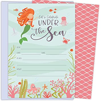 Under The Sea Mermaid Invitations With Deep Creatures Seaweed And Coral 25 Lavender