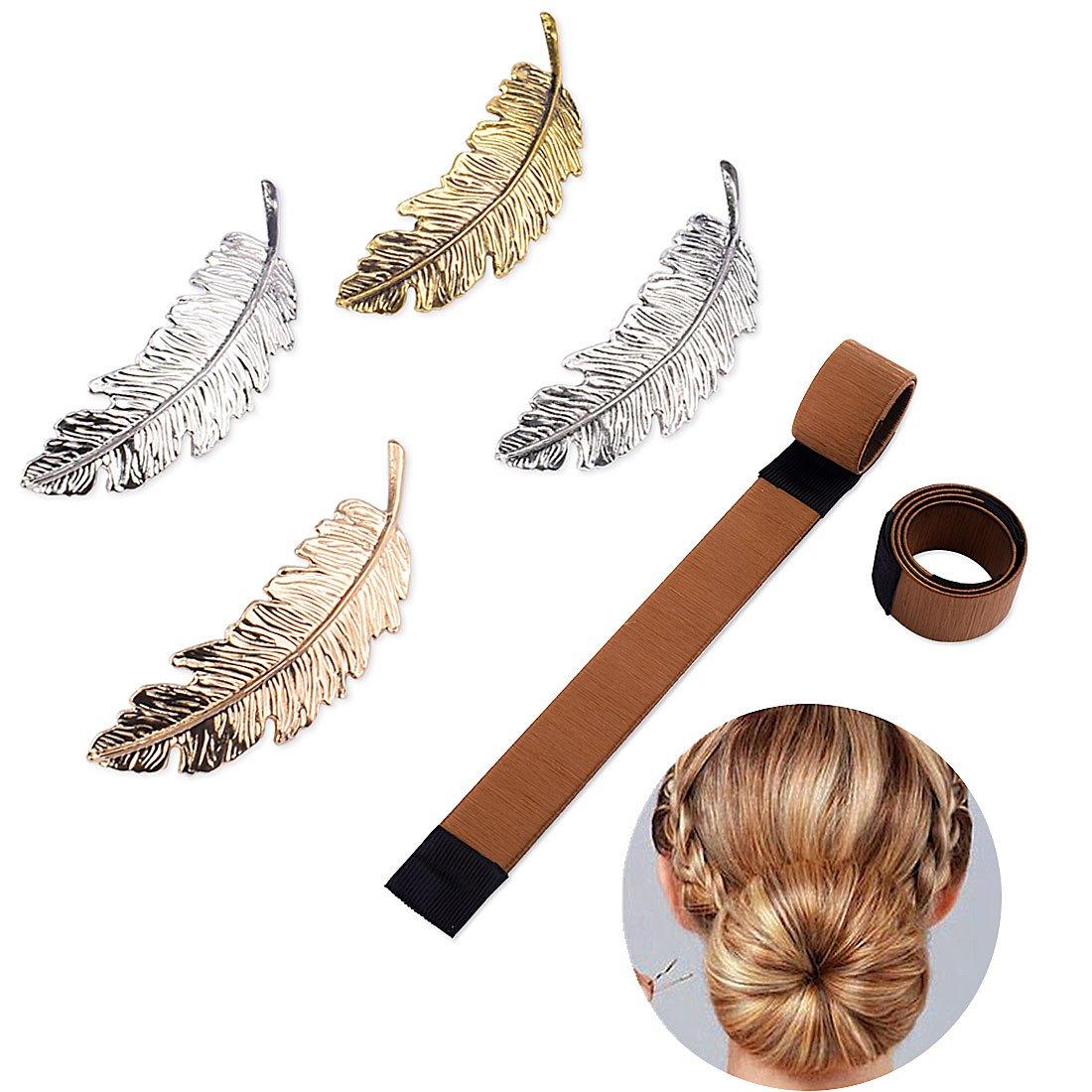 Gudotra 4pcs Fermagli Clip modello di capelli piuma barretta spilla artiglio accessori per capelli per donna con 2pcs acconciatura a clip