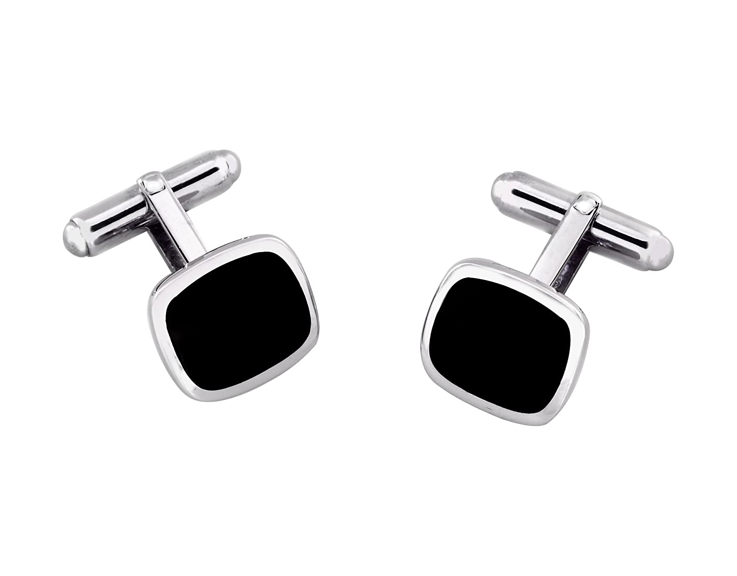 Select Gifts Sterling 925 Solid Silver and Onyx Cushion Shape Cufflinks Engraved Box