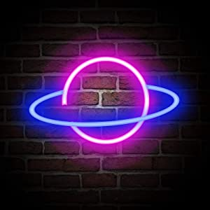 Neon Signs, NELOMO Neon Signs for Wall Decor Planet Neon Light Sign LED Neon Lights for Bedroom Battery & USB Powered Neon Signs for Bedroom Home Room Bar Party Wedding Christmas (Blue and Pink)