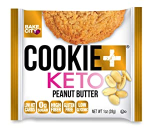 Bake City Cookie Plus Keto | 1oz Peanut Butter Cookies (12 pack), Gluten Free, 0g Sugar, Only 1.5g Net Carbs, Good Fats, 5g Protein, Kosher, No Artificial Flavors