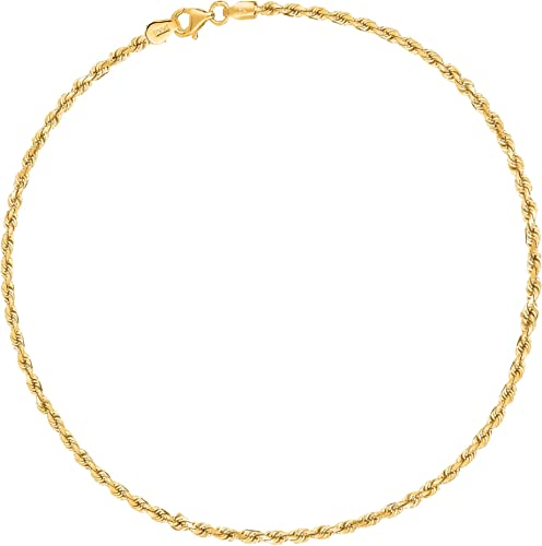 """Real 10K Yellow Gold Anklet 10/"""" Inch Diamond Cut Link Ladies 4mm,Lobster,Rope N"""