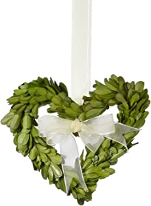 Napa Home & Garden 6-inch Heart Shaped Preserved Boxwood Wreath with Ribbon