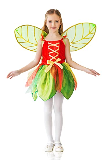 amazoncom kids girls spring pixie halloween costume forest fairy dress up role play 6 8 years green red yellow clothing