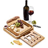 JIYUERLTD Cheese Board with Knives and Opener Chopping Board Bamboo Cutting Board,Cheese Services,Platter for Wine Nuts…