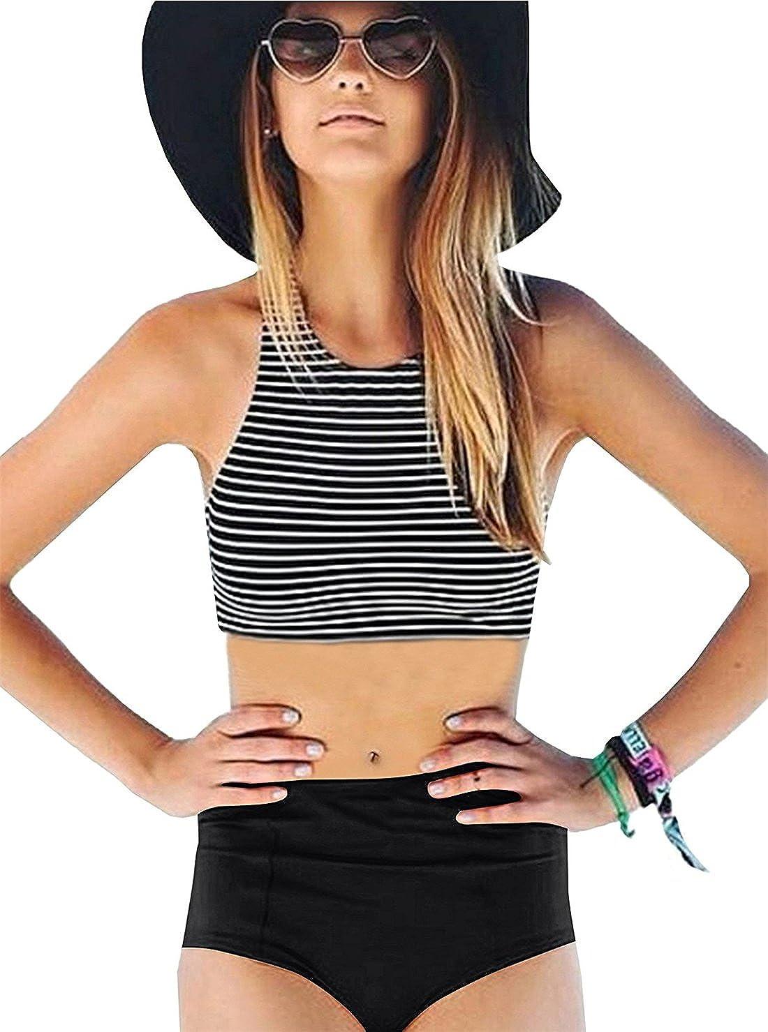 a160e9ecc2f60 Fashion retro style with high neck striped racerback bikini top and high  waisted solid color bikini bottom which has a nice coverage