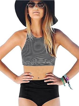 4dad93c617 Amazon.com: Women Sexy Striped High Waisted Swimsuit Tankini Halter Neck Bikini  Bathing Suit: Clothing