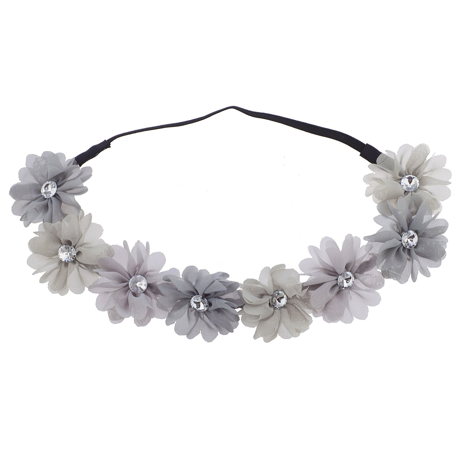 8e087897efa48 Amazon.com   Lux Accessories Multicolor Grey Rhinestone Flower Crown  Headband Headwrap   Beauty