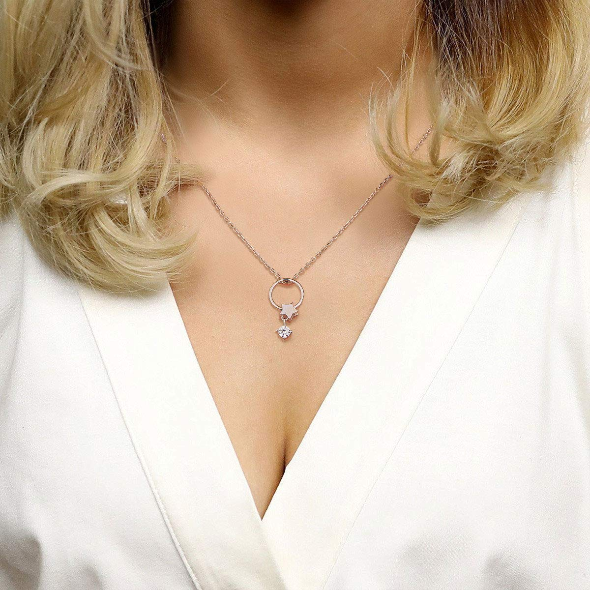 SHEGRACE Circle Star Pendant Necklace S925 with Cubic Zirconia Necklaces Jewelry for Woman Girls,17