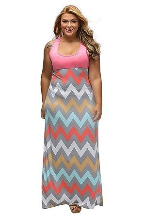 Gloria Sarah Women s Wavy Chevron Print Striped Wavy Pattern Casual Long  Dress Plus Size Maxi Dress c7b33c2f3