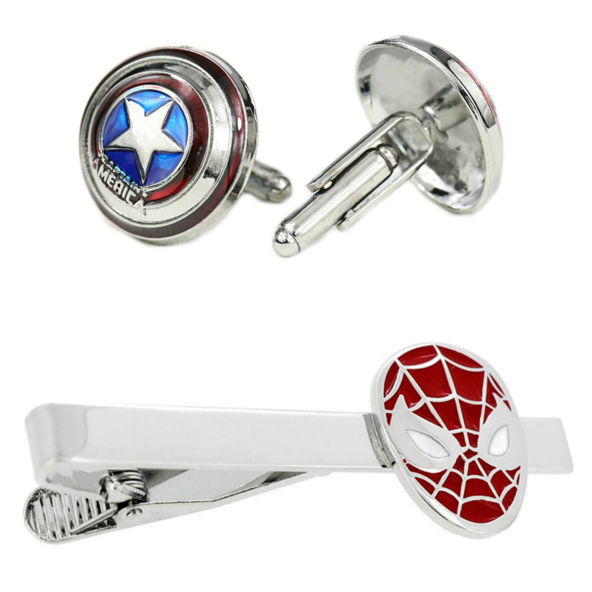 Outlander Captain America Cufflink & Spiderman Tiebar - New 2018 Marvel Studios Superhero Movies - Set of 2 Wedding Logo w/Gift Box by Outlander (Image #1)