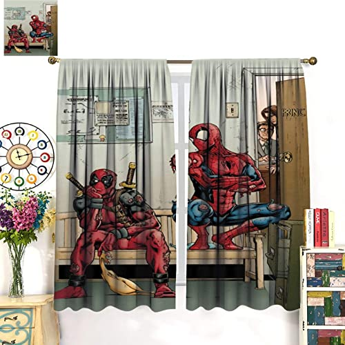 Spiderman and Deadpool Friendship Comic Decorate The Room to darken Wide Curtains