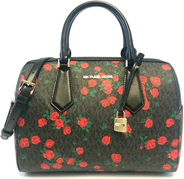 bbb39ac1c644b5 Michael Kors Hayes Large Duffle Black PVC Red Roses: Handbags ...