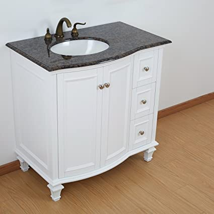 36 Inch Bathroom Vanity Set White Wooden Cabinet With Baltic Brown Granite  Top