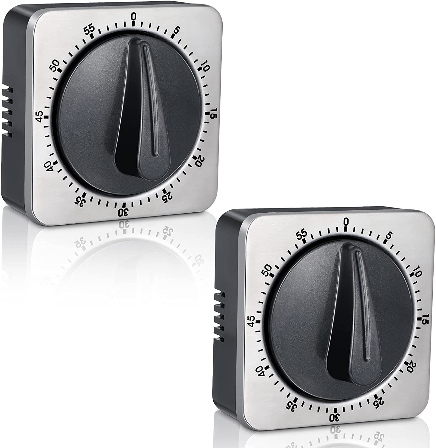 2 Pieces Digital Kitchen Timer 60 Minute Timer with Loud Alarm Magnetic Countdown Timer Mechanical Cooking Timer for Home Baking Homework Exercise