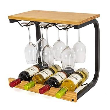 SODUKU Wine Rack Wall Mounted Handmade Metal & Wood Wine Countertop Rack Wine Storage Shelf with 4 Bottle Cages & 6 Long Stem Glass Light Brown