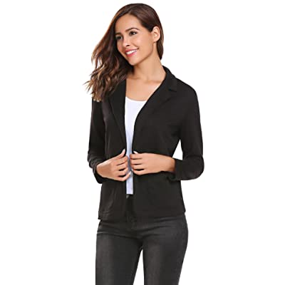 Zeagoo Womens Casual Work Office Blazer Open Front Long Sleeve Cardigan Jacket at Women's Clothing store