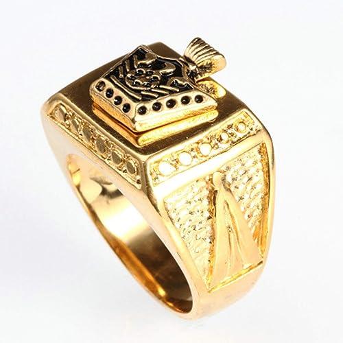 c30d4329baf14 Beydodo Stainless Steel Rings Men Signet Ring with Crown Eagle Gold ...