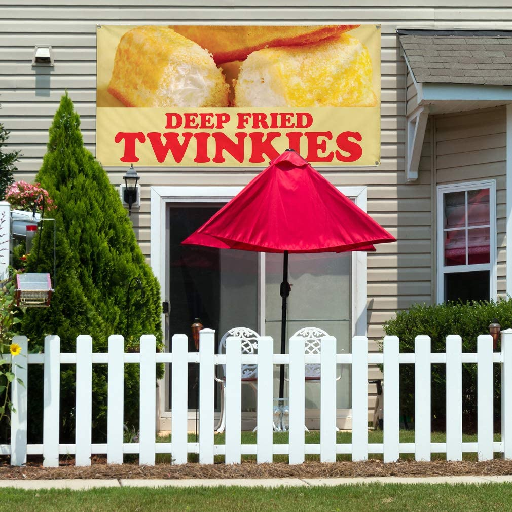 Multiple Sizes Available 44inx110in One Banner 8 Grommets Vinyl Banner Sign Deep Fried Twinkies Style1 Twinkies Marketing Advertising Blue
