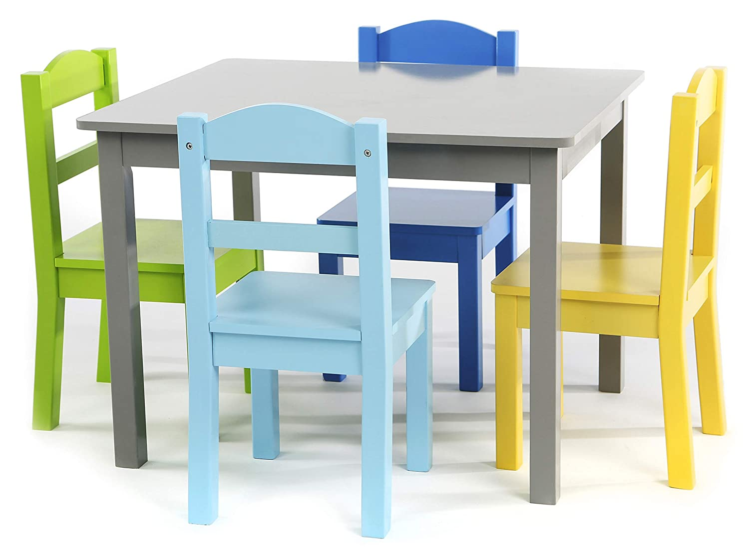 Tot Tutors TC451 Elements Collection Kids Wood Table & 4 Chair Set, Grey/Blue/Light Blue/Green/Yellow