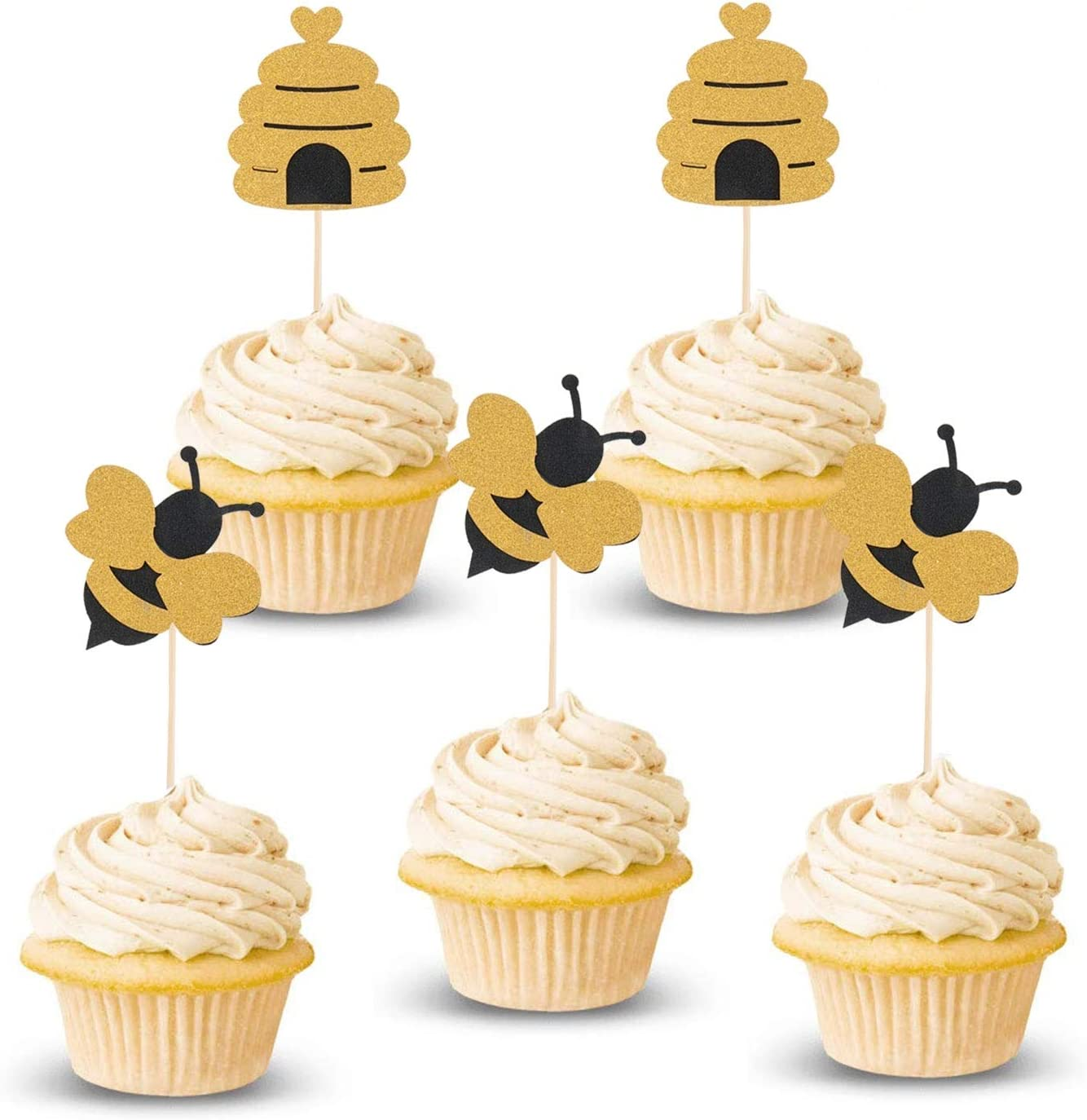 Lauren 48 Pcs Glitter Bumble Bee Cupcake Toppers Bee Gender Reveal Cupcake Toppers for Baby Shower Birthday Party Decor