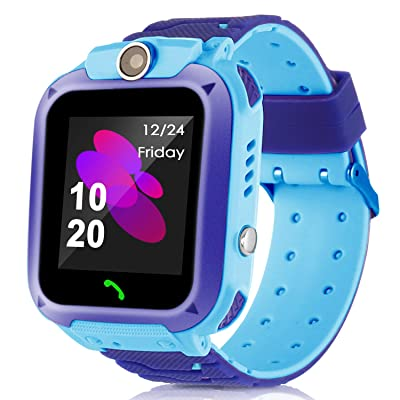 MIFXIN Kids Smart Watch Waterproof Touchscreen Wristband with GPS Tracker Phone Call Camera SOS Flashlight Children Digital Sport Smart Watch Phone for Boys Girls Kids Gift (Blue + Dark Blue): Clothing