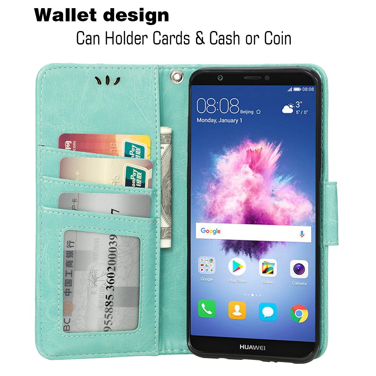 3 Card Holder Embossed Butterfly Flower PU Leather Magnetic Flip Cover For Huawei Enjoy 7S//Huawei P Smart Rose Gold Teebo Wallet Case for Huawei Enjoy 7S//Huawei P Smart