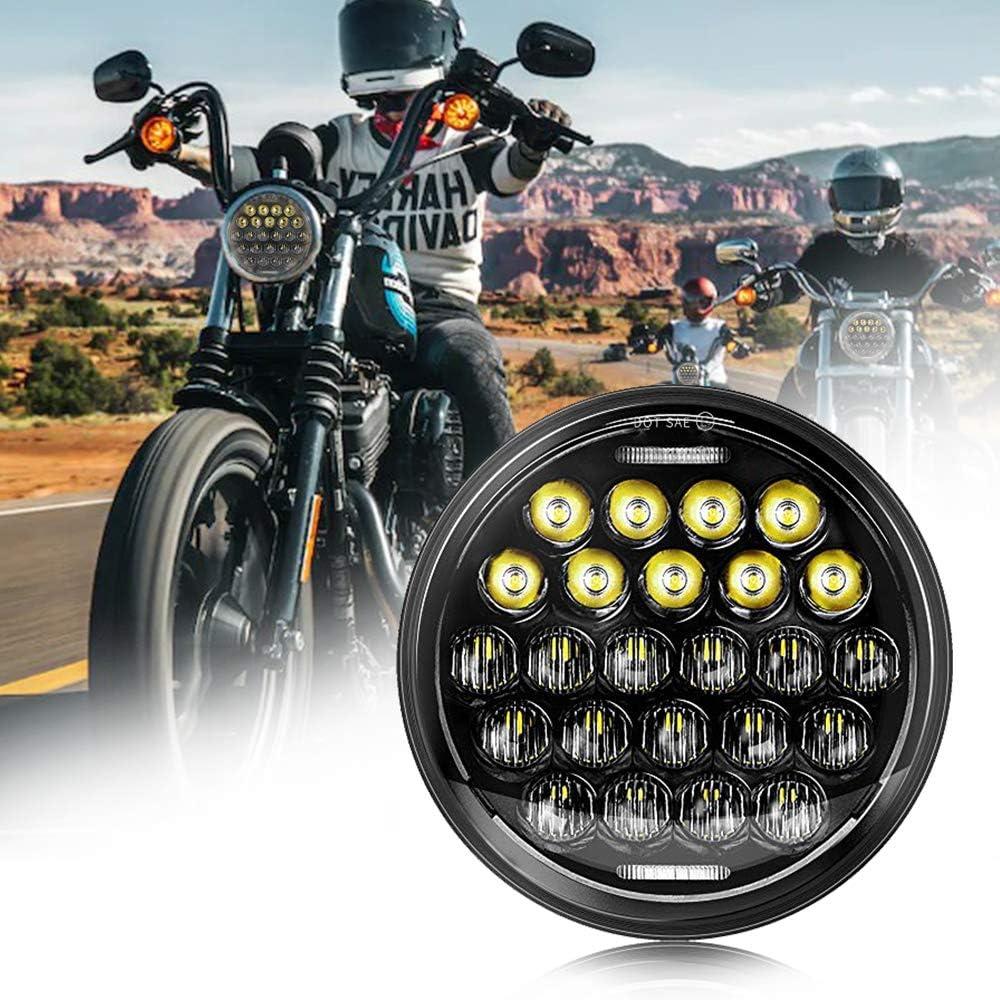 "Street-Bike Moto Headlight Housing Lampes Shell pour 7/"" Harley Fatboy Dyna"