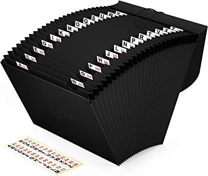 Comprar 26 Bolsillos Carpeta Clasificadora de Acordeon, ABClife Archivador A4 acordeón de gran Capacidad soporte Extensible portátil acordeón Papeles Clasificador Documentos,Etiquetas del alfabeto A-Z,Negro