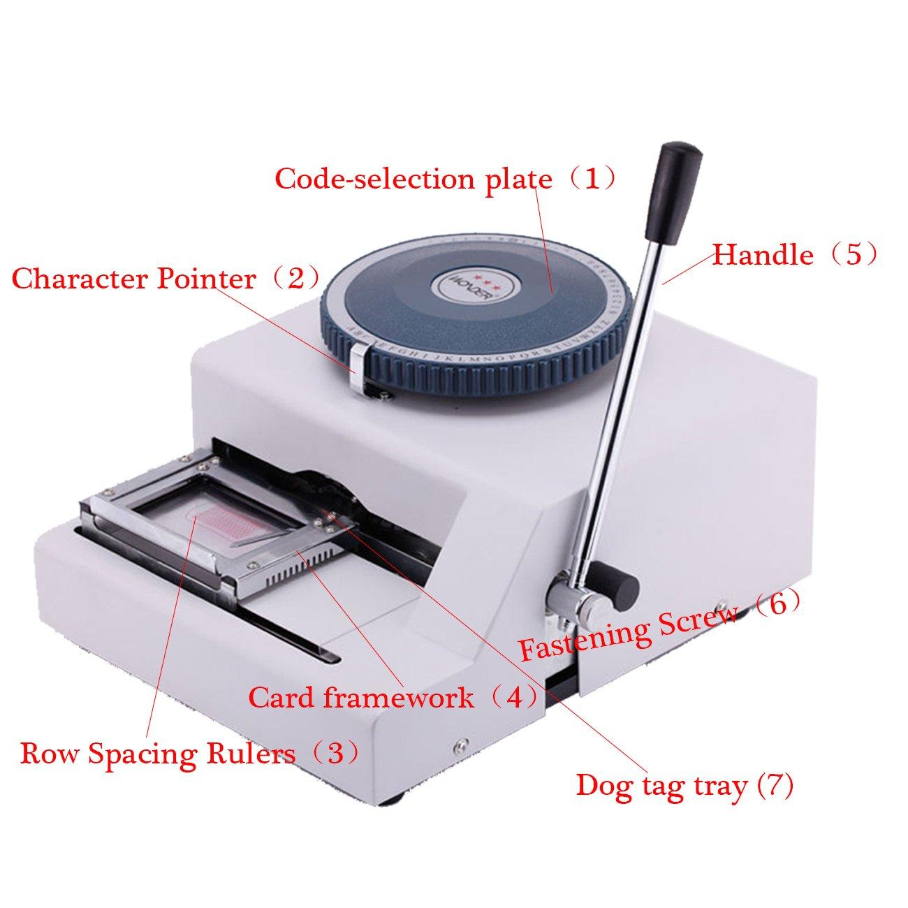 Iglobalbuy 52 Letter GI Military Metal Plate Dog ID Tag Embosser Dog Tag Emrossing Machine Manuel