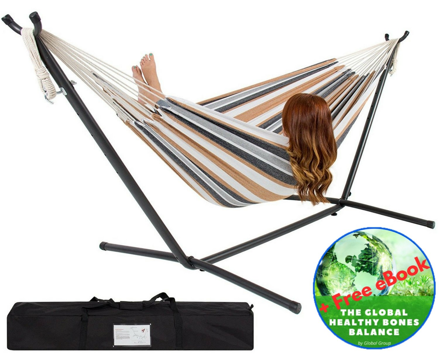 Double Hammock – With Space Saving Steel Stand – 2 Person Outdoor Patio Furniture – Comfort 100% Cotton – Includes Portable Carrying Case Stripe – Bonus Exclusive eBook – by Global Group