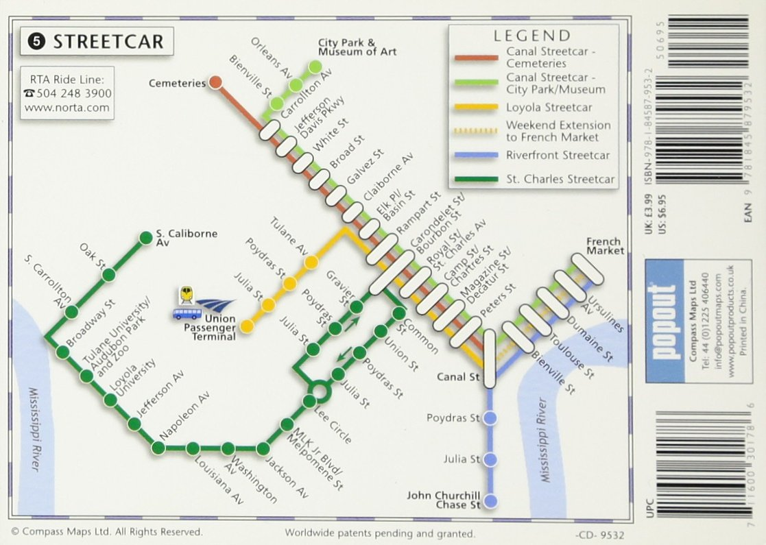 Streetcar In New Orleans Map.New Orleans Popout Map Popout Maps Popout Maps 0711600301786