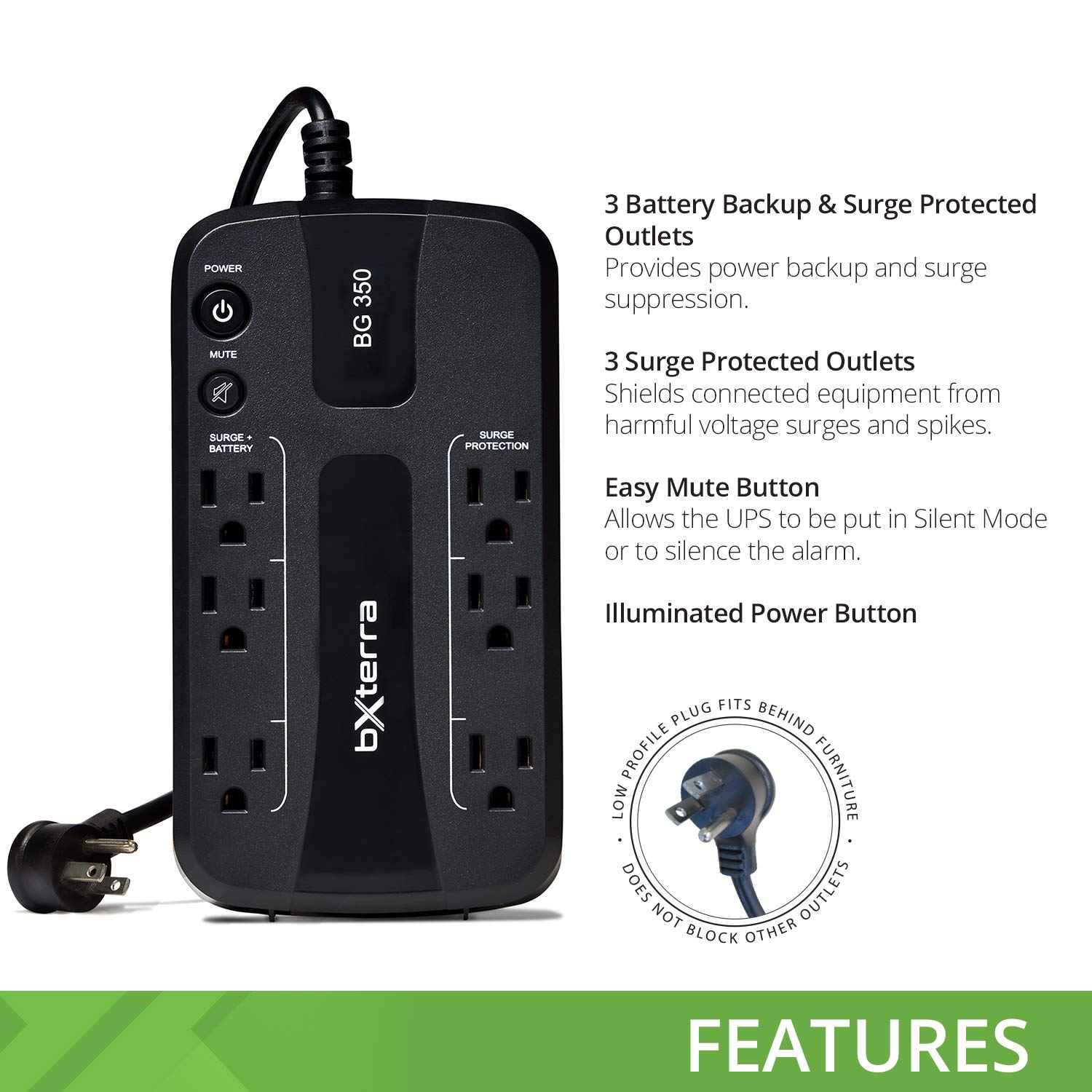 bXterra 350VA UPS BG350 Standby UPS Battery Backup, 6 Outlets, Easy Mute Button, RJ11, Energy Star, LEDs, Contoured Design, Compact by bXterra (Image #2)