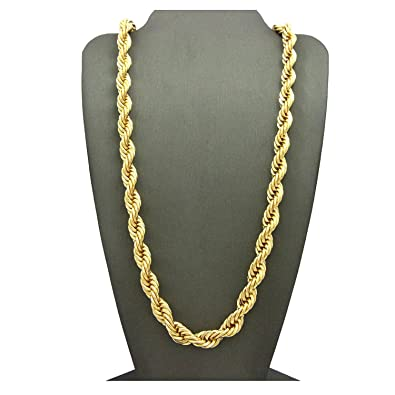 Amazon Com 24k Yellow Gold Filled Men S 7mm Rope Chain Necklace