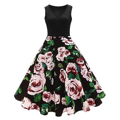 TheUniqueHouse 4 Color Floral Print High Waist Vintage Dress Women Summer Vestido Robe Retro Vintage Dresses