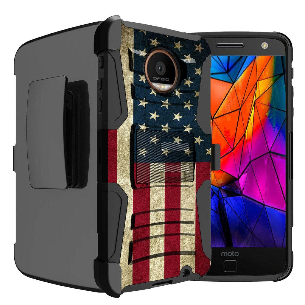 Untouchble Case for Moto Z Force Droid| Moto Z Force Case | Motorola Z Force Flag Case [Heavy Duty Clip]- Shockproof Swivel Holster Case with Built in Kickstand - Vintage America Flag