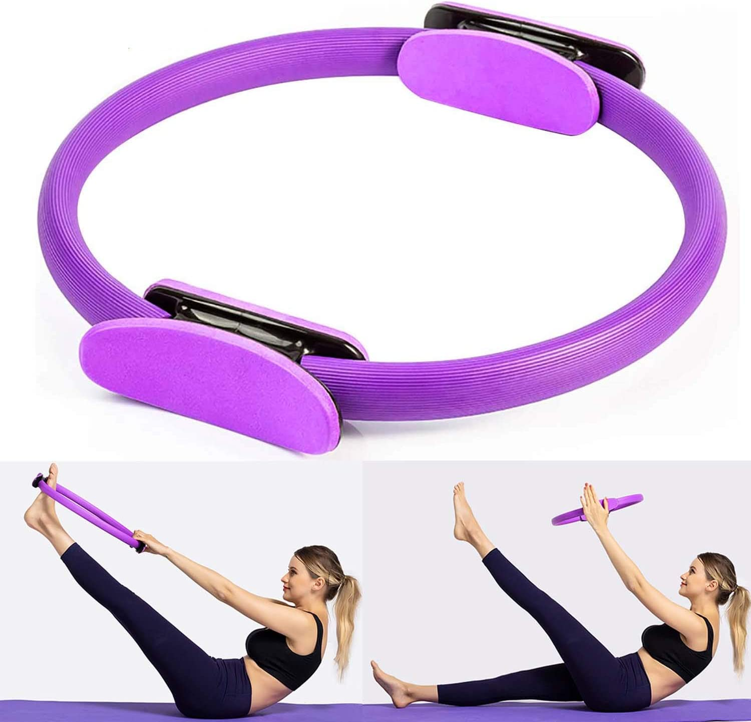 Pilates Ring,Portable Pilates Circle 15.7 inch Dual Grip Handles Yoga Circle Fitness Circle for Toning and Strengthening Thighs,Abs,Legs