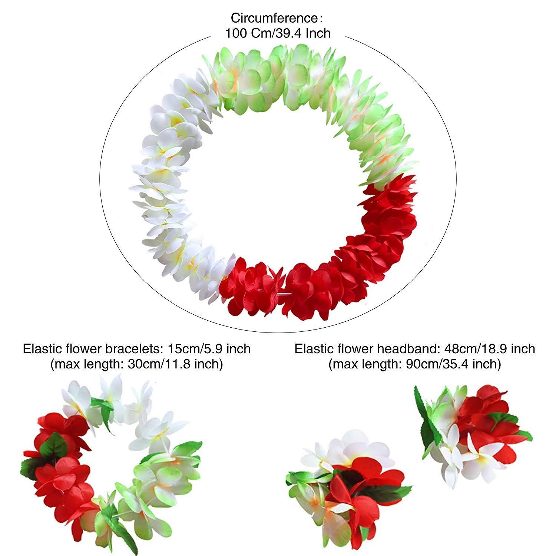 NFACE Hawaiian Luau Flower Leis Jumbo Necklace Bracelets Headband Set Yellow Red