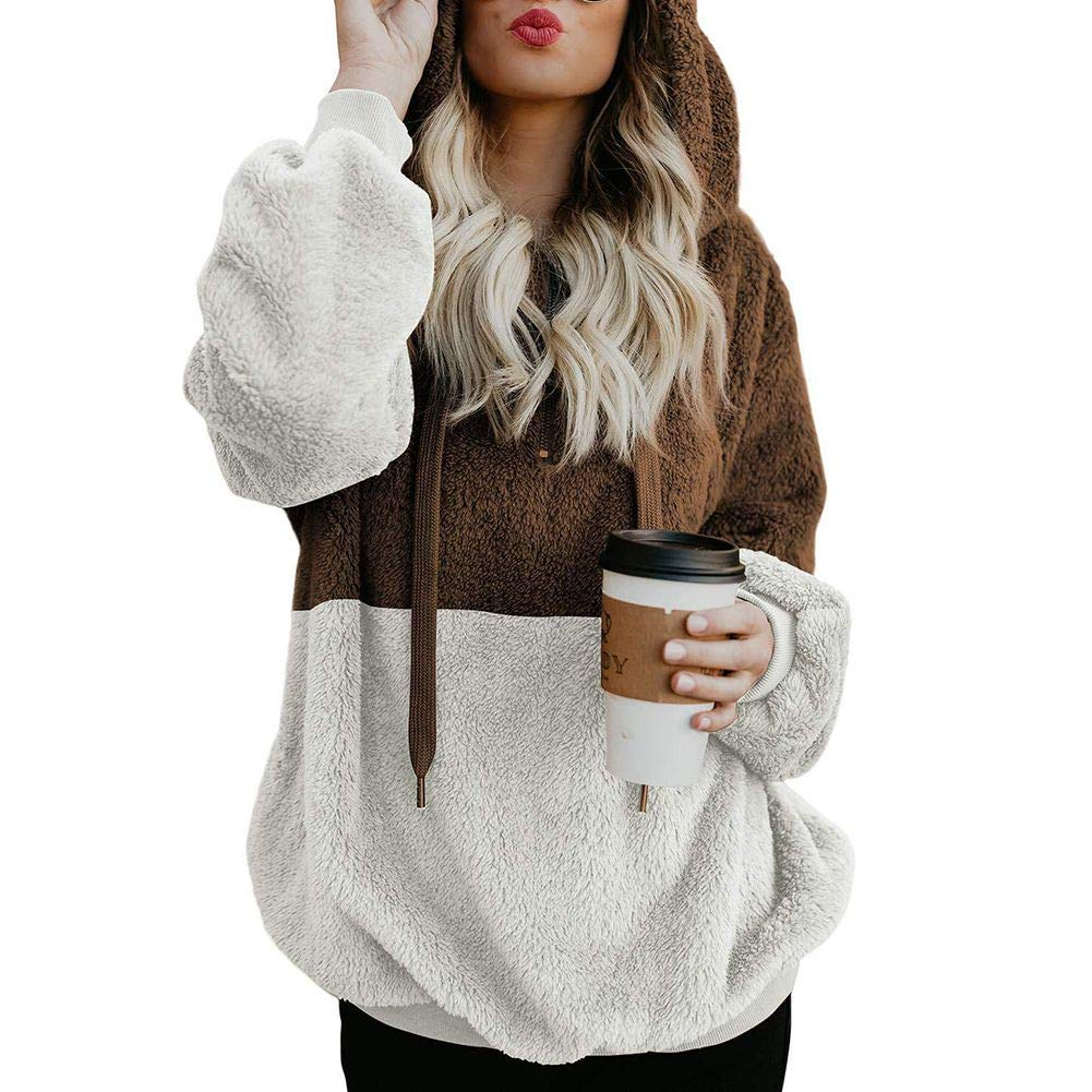 KOERIM Women's Warm Fuzzy Long Sleeve Oversized Sherpa Pullover Hoodie Pockets