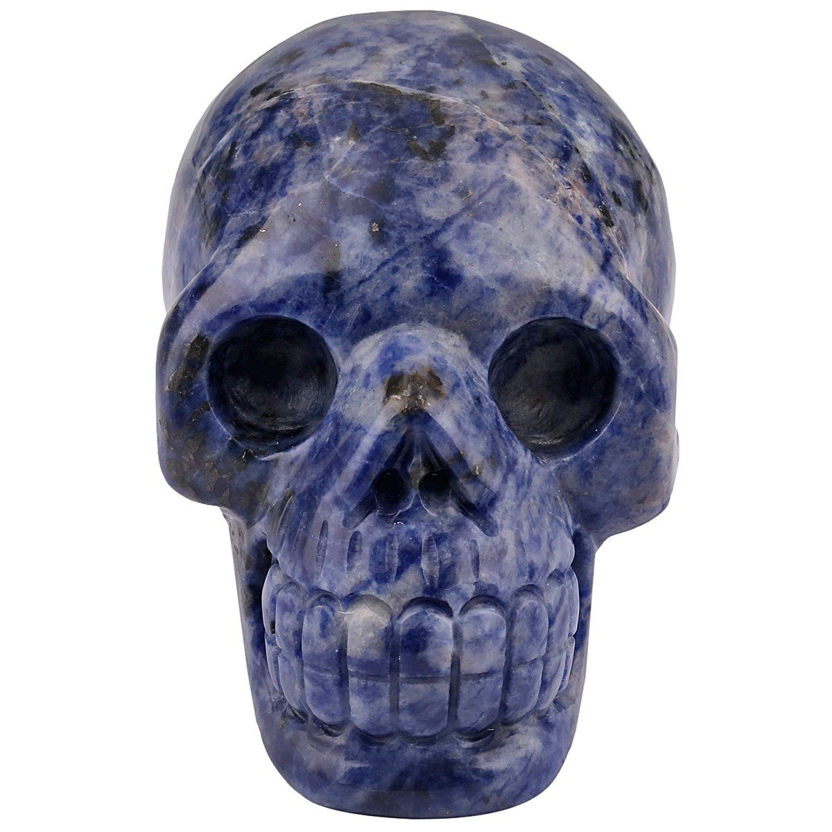 rockcloud Healing Crystal Stone Human Reiki Skull Figurine Statue Sculptures Sodalite 3
