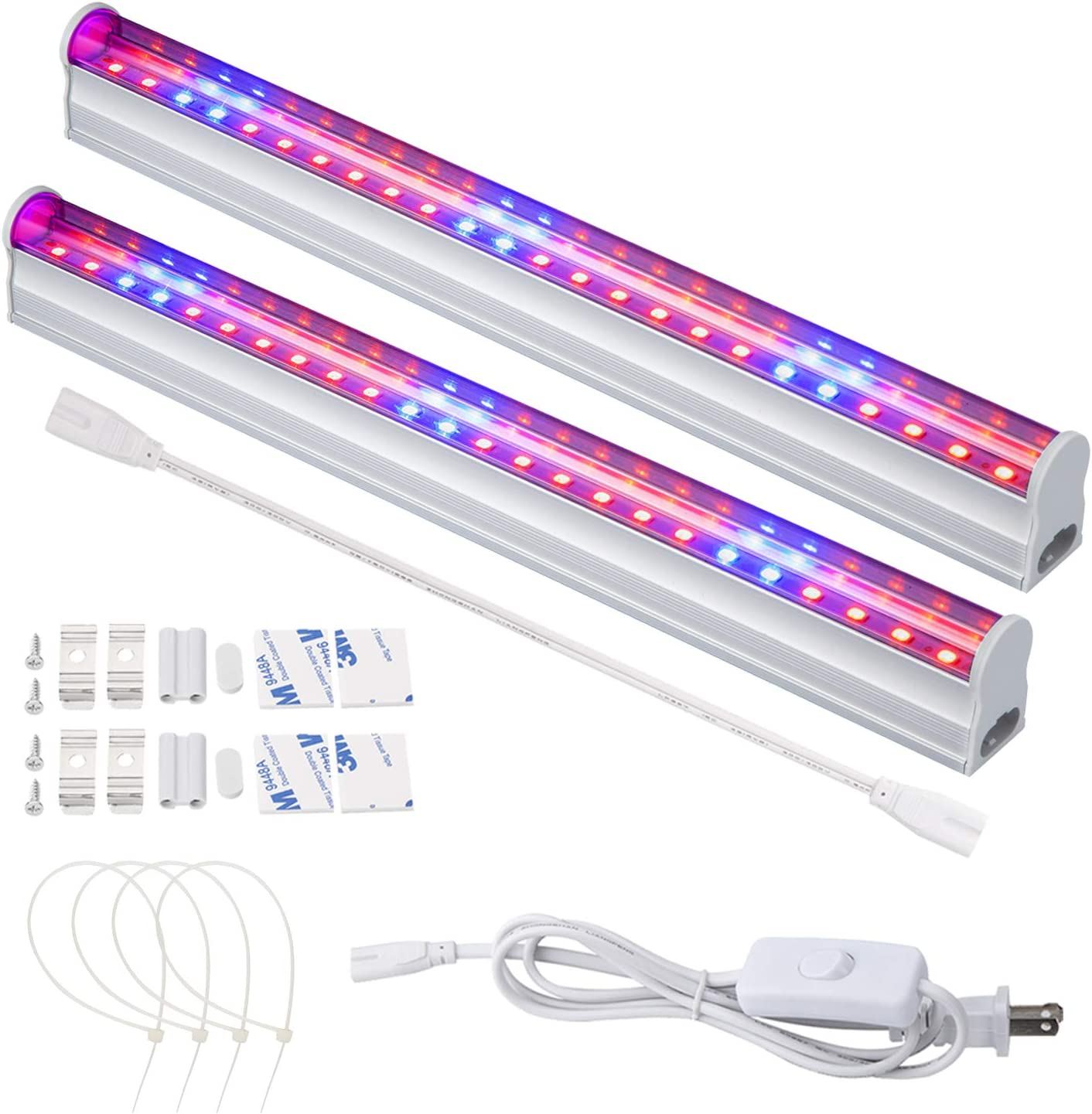LED Grow Light, 2pcs T5 Tube SMD2835 High Brightness Red Blue Spectrum Plant Growing Lights Bar for Indoor Plants Veg and Flower Seeding with US Plug Switch Wire 11.5inch /Strip
