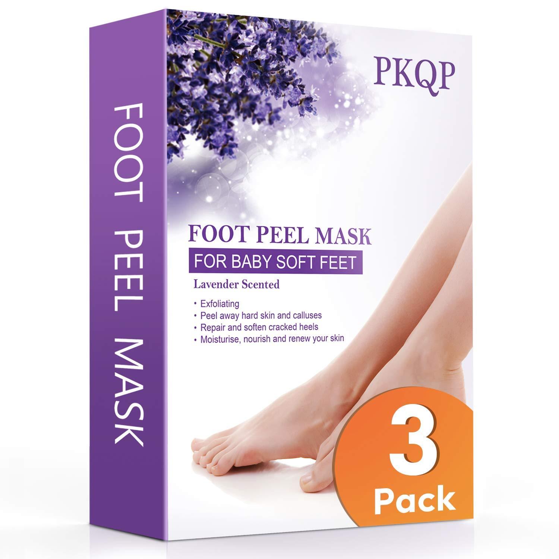 3 Pack Foot Peel Mask, PKQP Natural Exfoliation Foot Peel 45 Mins Treatment- Lavender Foot Masks for Dry Dead Skin, Callus, Repair Rough Heels Make Your Feet Baby Soft